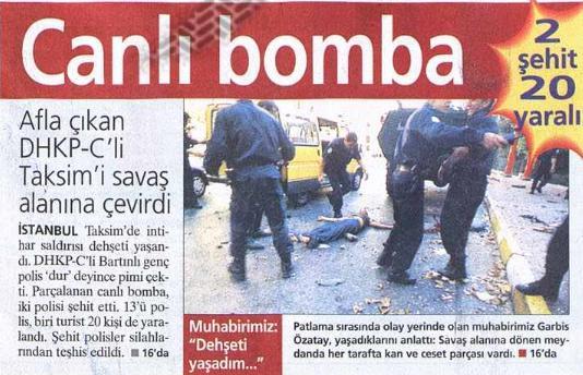 10 eylül 2001 taksim gümüşsuyu nda bombalı saldırı