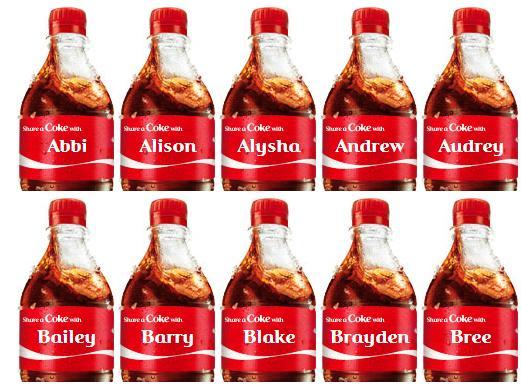 coca cola tenekesinin üzerindeki isimler