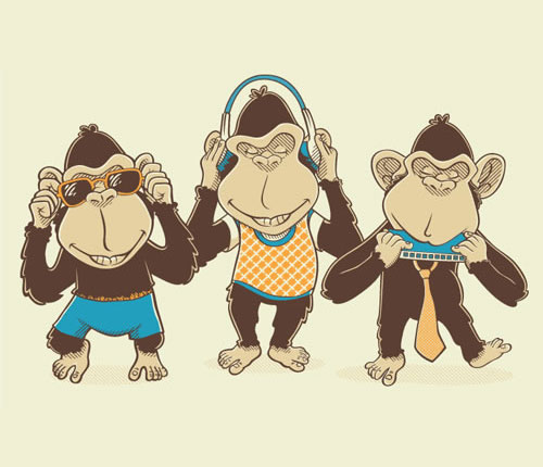 üç maymunu oynamak