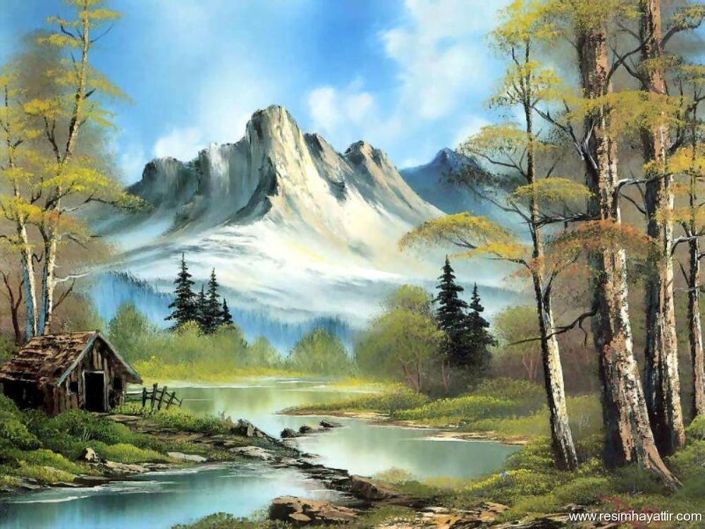 yağlı boya manzara resimlerindeki derme çatma ev