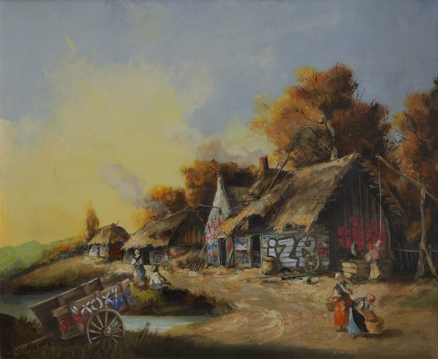 Yağlı boya manzara resimlerindeki derme çatma ev önceki